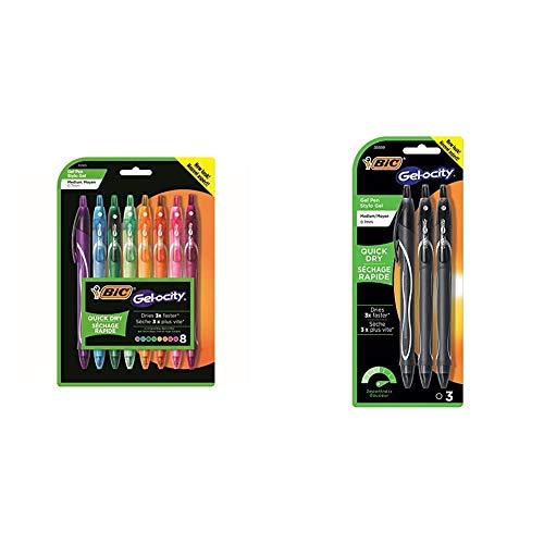 BIC Gel-Ocity Quick Dry Gel Pens, Medium Point Retractable Gel Pen (0.7mm), Assorted Colors, 8-Count & Gel-Ocity Quick Dry Gel Pens, Medium Point Rectractable (0.7mm), Black Ink Gel Pen, 3-Count
