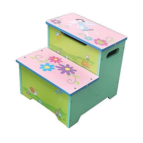 WODENY Kinderhocker mit 2 Stufen, leicht, tragbar, mit Stauraum für 2 Stufen, rutschfest, stabil, für Badezimmer, Toilette, Training, Kinderhocker (Pink Cyan)