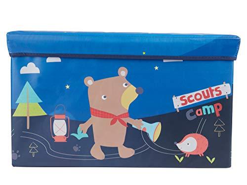 Bieco Aufbewahrungsbox mit Deckel | Pfadfinder 60L, faltbar | ca. 60x30x35cm | Spielzeugkiste mit Deckel | Aufbewahrungsbox Kinder | Kisten mit Deckel | Aufbewahrungsbox Groß | Wickeltisch Organizer
