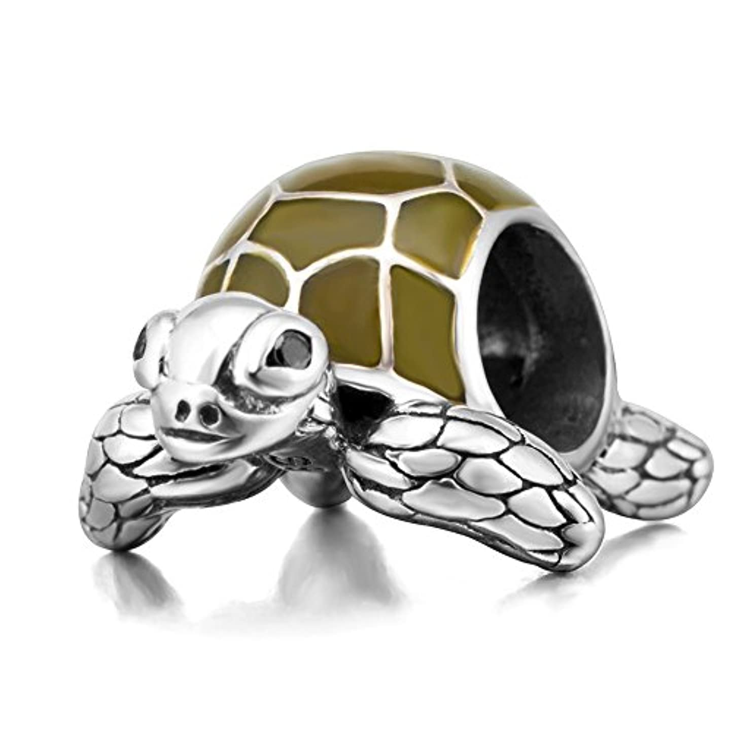 Sea Turtle Charm 925 Sterling Silver Beads fit for DIY Charm Bracelet & Necklace (Olive green)