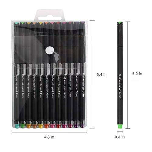 Fineliner Color Pen Set, 12 Porous Fine Point Pen Markers, 0.4mm Fine Line Tip Colored Sketch Writing Drawing Pens, for Journal Planner Notebook Note Taking Calendar Drawing Writing (12 Colors)