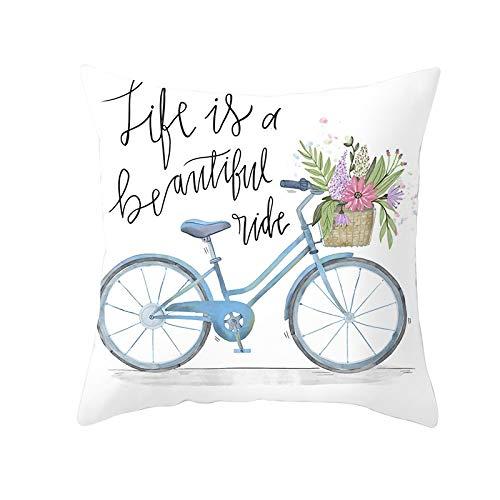 Fundas de Cojines Funda de Cojín Flor de bicicleta Cojines Decoracion Terciopelo Suave Fundas de Almohada Cuadrado para Sofá Cama Sillas Coche Dormitorio Decorativo Hogar M123 Pillowcase,40x40cm