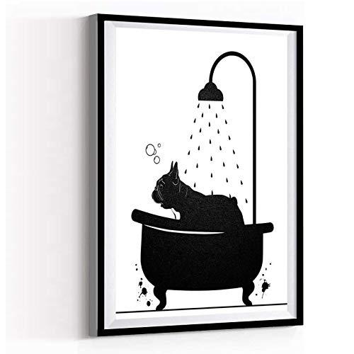 Canvas Wall Art Modern Art Painting Framed 12''x18''French bulldog in bathtub Artwork Wall Art for Living Room Bedroom Bathroom Room Office Decor
