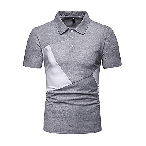 Super㊣fire Herren Kurzarm Poloshirts mit Kragen, Gestreifte Blousonshirts mit Brusttasche aus Baumwoll Polo Shirts Herren Kurzarm Golf Poloshirts Gitterstiche Ausschnitt Baumwolle Basic T-Shirt