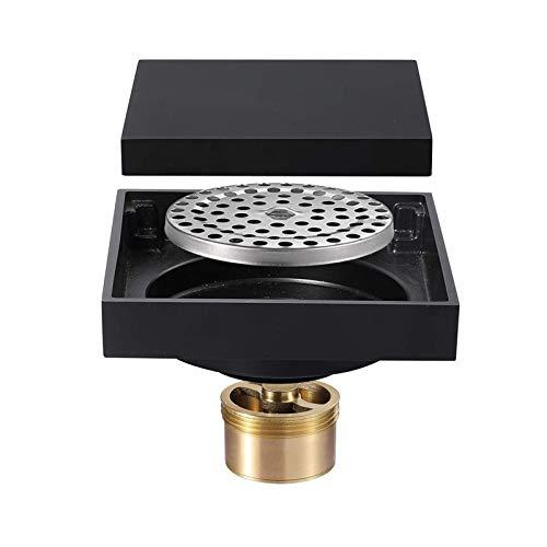 Bodenablauf, 10x10cm Schwarz Modernes Design Desodorierender Badezimmerbodenablauf für Badezimmerablauf Bodenablauf Waschraum-Duschablauf