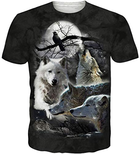 Loveternal Unisex Lobo Camiseta 3D Impreso Verano Manga Corta Wolf T-Shirt S