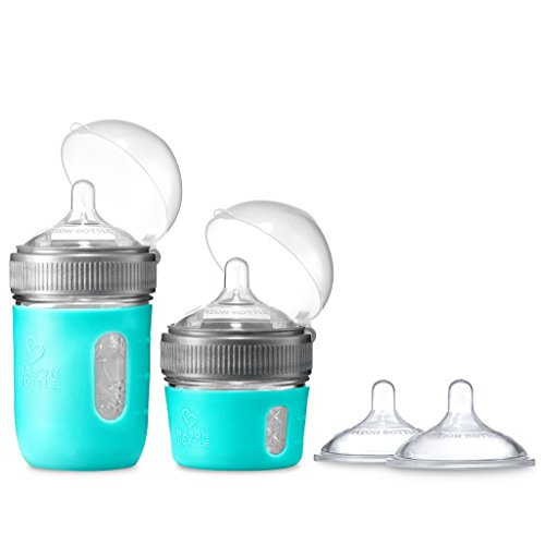 Mason Bottle - The Essential Gift Set: Glass Baby Bottles 4 and 8 Ounce, Silicone Sleeve, Slow-Flow Nipple (2 Pack), Non-Toxic, BPA and BPS Free, 100% Made in The USA (5 Items, Agave)