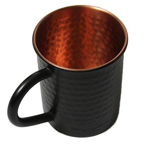 Black Hammered Moscow Mule Drink Mug - 100% Pure Heavy Gauge 16 Ounce Moscow Mule Mug