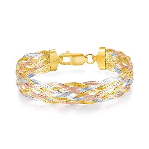 HHW Italienische 925 Sterling Silber Dreifarbige Vergoldete Faden Webarmbänder Feiner Schmuck Frauen Trendy, Style B