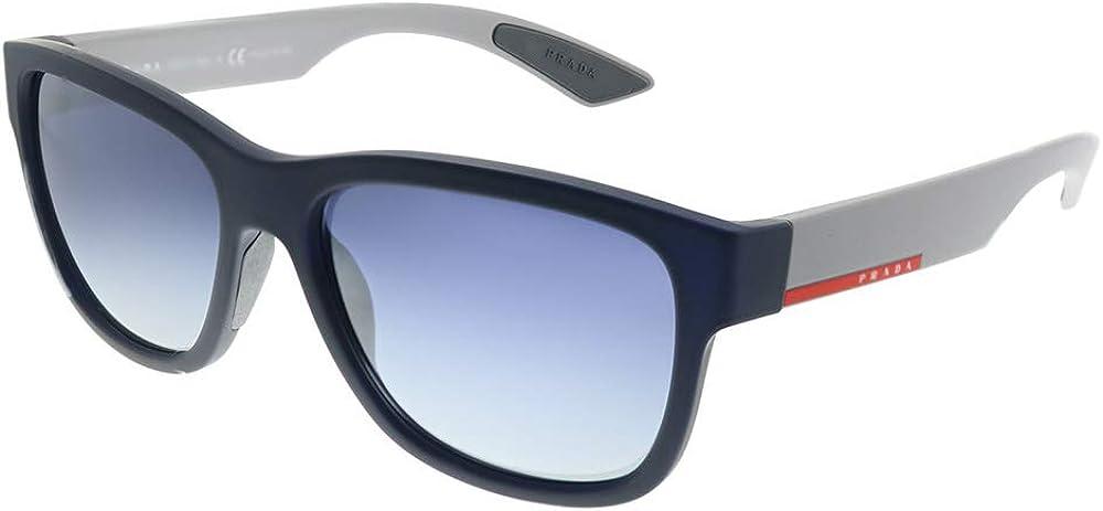 Prada, occhiali da sole per uomo, montatura: blu gommato - lente: grigio chiaro sfumato blu 03QSA