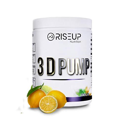 RiseUp 3D Pump - Veganer Pump Booster für mehr Blutvolumen - Pre Workout Booster ohne Koffein für 100% Pump 450g (LEMON)