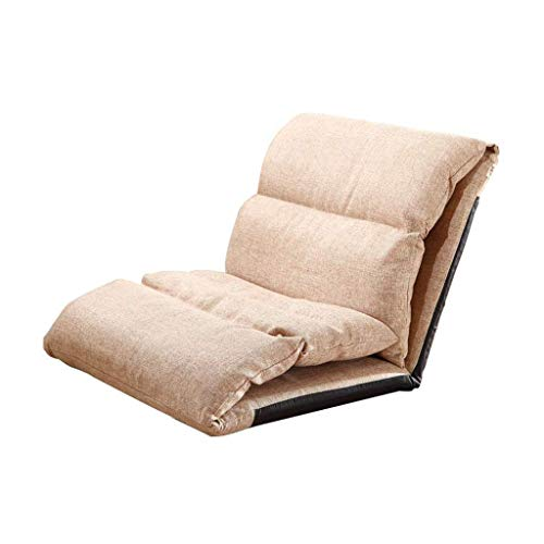 YLCJ Silla de Piso Plegable Lazy Lounge Little Sofa Bed Sleeper Ajustable Reclinable Single Bay Window Desmontable Wash (Khaki)