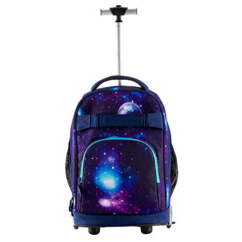 FREETT Boy Trolley Backpack, Wheeled Laptop Backpack for Student School and Business, Travel Trolley Suitcase, Waterproof, Multicolor, 32 * 20 * 46 cm