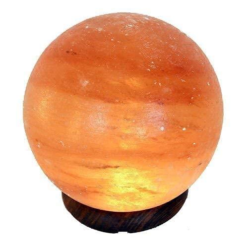 Lámpara de Sal amarilla en forma de Sol o Planeta, Diámetro 15 cm
