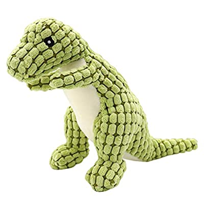 NASTRA Dog Plush Toys,Sturdy Squeaky Toys for Dogs,Interactive Stuffed Dog Chew Toys for Small Dogs(Green dinosaur)