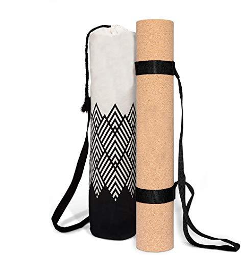 ASDASD Tappetino Yoga Sughero - Antiscivolo - Spessore 3mm - Vegan sostenibile e riciclabile - Tappetino Yoga in Sughero e Gomma con Borsa Yoga in Lino