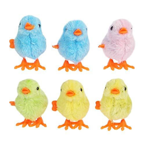 Amosfun 6 Stücke Wind-Up Huhn Spielzeug Uhrwerk Tier Spielzeug Plüsch Keine Flügel Küken Spazieren Spielzeug Kinder Spielen Tier Puppen für Jungen Mädchen Kinder