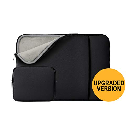 RAINYEAR 13 Inch Laptop Sleeve Soft Lining Case Cover Bag with Pocket & Accessories Pouch,Compatible with 13.3 MacBook Pro Air/Retina/Touch Bar for 13' Notebook Chromebook(Black,Upgraded Version)