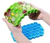 Bandeja de cubitos de hielo de silicona, 4 bandejas de hielo con 37 compartimentos para cubitos de hielo con tapa, moldes para cubitos de hielo para bebidas refrigeradas (color al azar)