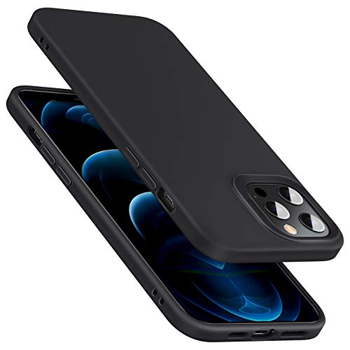 ESR Cloud Series Case Compatible with iPhone 12/Compatible with iPhone 12 Pro, Liquid Silicone Case (2020) [Comfortable Grip] [Screen & Camera Protection] [Shock-Absorbing], 6.1' - Black