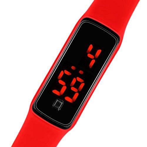 Taffstyle Unisex Armbanduhr Digitale Sportuhr Silikonuhr mit LED Damen Herren Digital Sport Silikon Uhr Rot