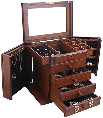 BESTPRVA Joyería del reloj del almacenaje Caja de almacenamiento Inicio Joyero de madera de la joyería caso del recorrido caja de almacenamiento con cerradura de las niñas y las joyas de regalo de las