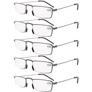 Eyekepper 5-Pack Straight Thin Stamped Metal Frame Half-eye Style Reading Glasses Readers Gunmetal +1.5:Hdmoviedownload