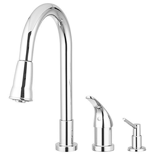 Pacific Bay Grandview Pull-Down Kitchen Faucet with Soap Dispenser (Brushed Satin Nickel)