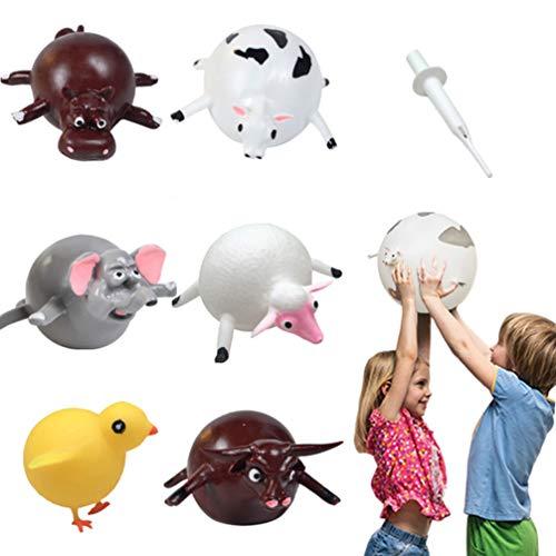 NUOBESTY Stress Ballblasen Tiere Spielzeug Aufblasbare Ballon, Stress-Erleichterung Squeeze Ball, Lustig Blastierspielzeug für Kinder Erwachsene Kinder