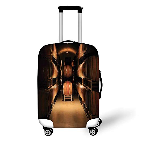 Travel Luggage Cover Suitcase Protector,Winery Decor,Wine Barrel Stacked in Cellar Aged Old Fermenting Quality Container Storage Basement Image,Brown,for Travel S
