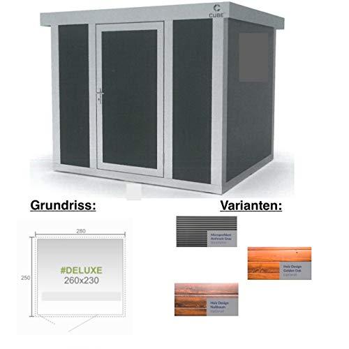 Cube fx Gartenhaus Deluxe S222 260x230x230 cm Straight Line Gerätehaus Geräteschuppen Außen Stuck-Optik/Innen Silber-grau, glatt