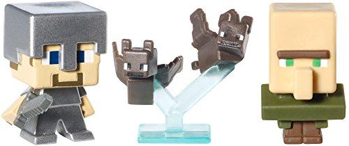 Minecraft Mattel Lot de 3 Figurines Steve avec Armure de Fer, Chauve-Souris, villageois Référence CKH38