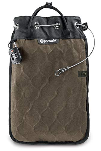 Pacsafe Travelsafe 12L - Mobiler Safe mit TSA-Zahlen Schloß, Trage-Tasche mit Anti-Diebstahl Technologie, 12 Liter Volumen, Beige/Sand