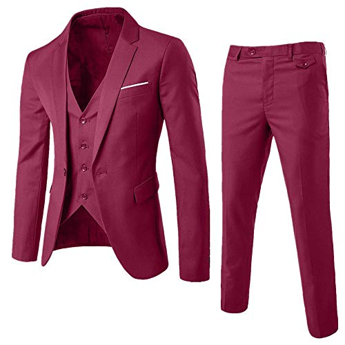 DAY8 Abito Cerimonia Uomo 3 Pezzi per Matrimonio Affari Festa Slim Fit Elegante Vestito Uomo Cappotto Giacca Blazer + Gilet + Pantaloni Set Economico (Bordeaux, XL)