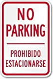 TammieLove Señal Decorativa de Aluminio para Pared Texto en inglés No Parking Prohibido Estacionar, 8 x 12 Pulgadas