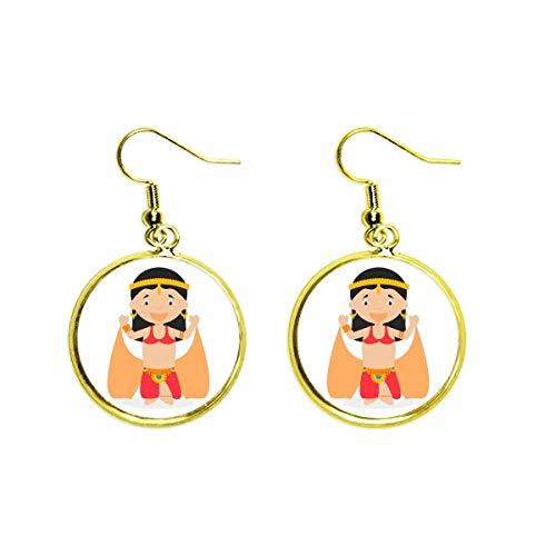Traditionelle orientalische Tänzerin Cartoon-Ohrhänger, goldfarben, für Damen