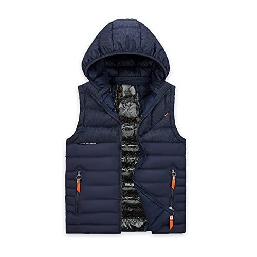 Chaleco de invierno para hombre más grande tamaño 5xl chaleco sombrero desmontable chaleco cálido espesar sin mangas chaquetas parka abrigo para hombres, Azul-2, XL