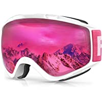 findway Gafas de Esquí,Máscara Gafas Esqui Snowboard Nieve Espejo para Hombre Mujer Adultos Juventud Jóvenes, Anti Niebla Gafas de Esquiar OTG,Protección UV Rosa roja Esférica Lentes