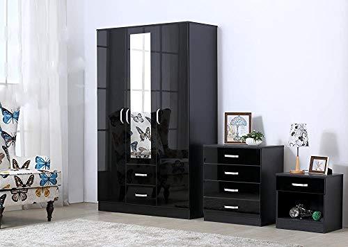 Kunyoxiu 3-teiliger 3-stück-Schlafzimmer-Möbelanzug - inklusive Kleiderschrank, 4 Schubladen, Nachttische,Black