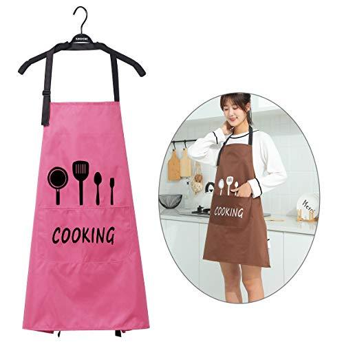 WEONE Regolabile Grembiule da Cucina con 2 Tasche per Uomo e Donna, Impermeabile Grembiuli da Chef, Grembiule Cuoco per Ristorante Giardinaggio Artigianale Cottura BBQ (Rosa)