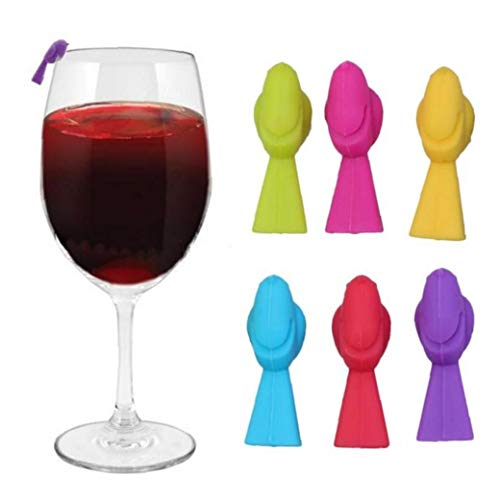 LAVALINK 6pcs Copa De Vino Reconocedor De Silicona Bird Vino Marcador De Cristal Copa Distinguisher De La Copa De Vino Champán Cristal