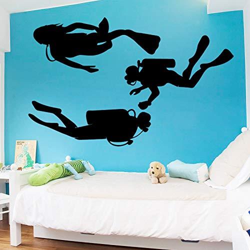 Tauchen Taucher Vinyl Wandaufkleber Hohe Qualität Abnehmbare Abziehbild Schlafzimmer Extreme Sport Decor Poster Wandbild Gelb XXL 58 cm X 93 cm