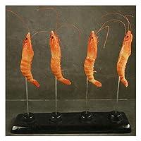 フードプロップ現実的な偽物 4個の偽の調理されたエビの高分子シミュレーション接着剤ロブスターシーフードモデル家族パーティークリスマスハロウィーンの装飾のための人工的なザリガニ工芸品