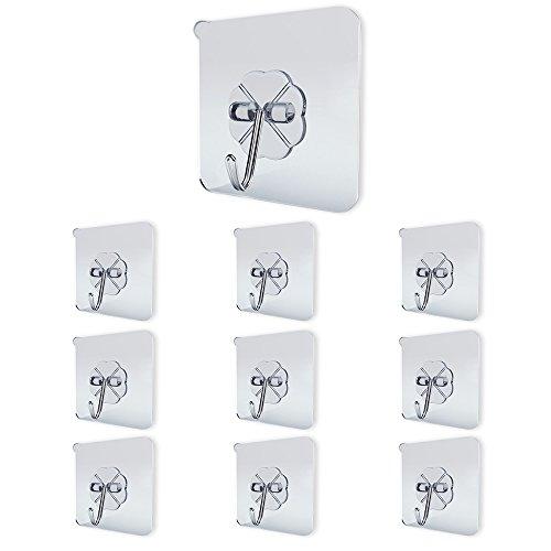 Ninonly Hooks (10 Packs) Zelfklevende 10kg zwaar belaste waterdichte muurhaken Kast Handdoek Gordijnhanger Zonder boren voor badkamerdeur Keuken Wandbescherming