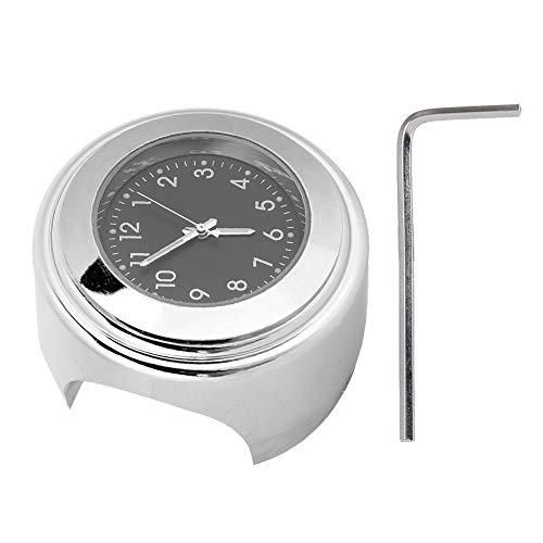 Reloj de Manillar de Motocicleta Suuonee, Reloj Universal de Montaje en Moto de 22-25 mm Reloj de marcación con Barra de Agarre Manual de Montaje en Metal(Negro)