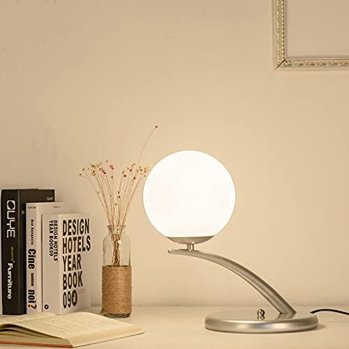 LZQBD Lámparas de Mesa, Dormitorio Led Led Habitación Libro de Libros Lámpara de Mesa Lámpara Decoración Iron Nordic Simple Sket,Plata