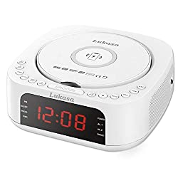 Lukasa Bluetooth CD Player Tabletop Boombox Stereo Clock Wireless Charging,Home Digital FM Radio Dual Alarm Clock Top-Loading Disc Players USB AUX Sleep Timer (White)