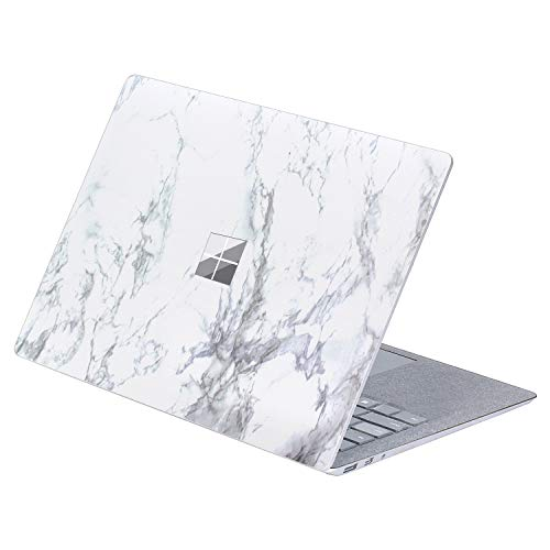 Top Side Sticker Laptop Decal for 13.5 inch Microsoft Surface Laptop 4 & 3 & 2 & 1 (2021-17 Released) Anti Scratch Protective Skin, DO NOT Compatible with Surface Book (Marble-White with Black)