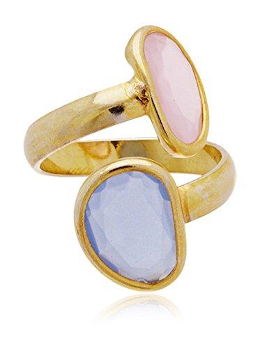 Córdoba Jewels | Anillo en Plata de Ley 925 bañada en Oro. Diseño Dúo Kiut Calcedonia Cuarzo Rosa