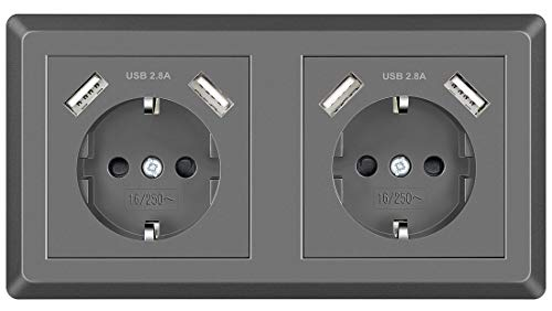 Doble Enchufe de pared con USB Tomas de Corriente Superficie Schuko Enchufe Gris Empotrado para Cocina, Dormitorio, Oficina, Hotel, etc